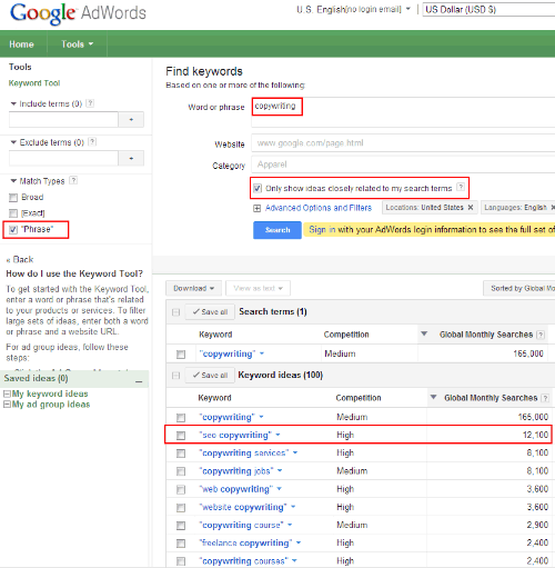 Google Keyword Tool For Adwords - Phrase Match Type