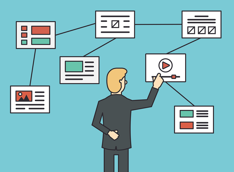 Using website flowchart sitemap connecting working algorithm and navigation site structure. Flat line style - vector illustration