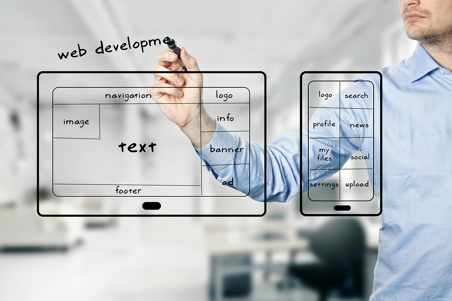 website and mobile app development. blurred office in background