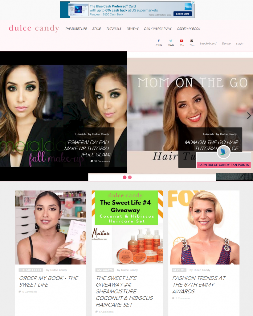 Dulce Candy is an example of a high traffic, high quality fashion blog that sells advertisng.